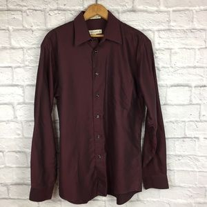 Pronto Uomo Burgundy Classic Fit Button Down Shirt